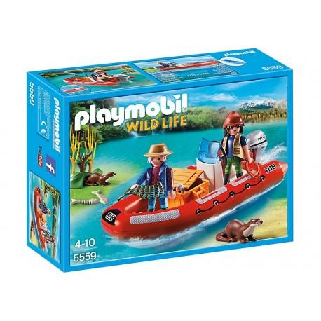 PLAYMOBIL - WILD LIFE - ŁÓDŹ PONTONOWA Z KŁUSOWNIKAMI - 5559