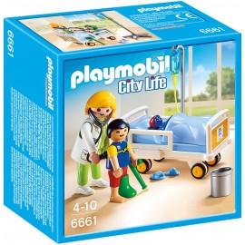 PLAYMOBIL - CITY LIFE - LEKARKA PRZY ŁÓŻKU CHOREGO DZIECKA - 6661