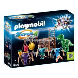 PLAYMOBIL - SUPER 4 - WOJOWNICY ALIEN Z PUŁAPKĄ NA T-REXA - 9006
