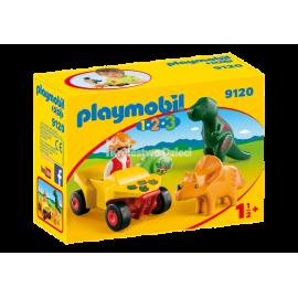 PLAYMOBIL - 123 - BADACZ DINOZAURÓW Z QUADEM - 9120