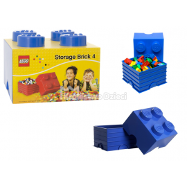LEGO® - POJEMNIK NA KLOCKI ZABAWKI I INNE - KLOCEK 4 WYPUSTKI - NIEBIESKI - 4003