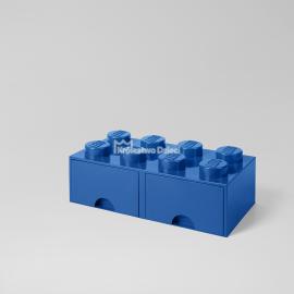 LEGO® - POJEMNIK NA KLOCKI ZABAWKI I INNE - KLOCEK 8 WYPUSTEK I 2 SZUFLADKI - NIEBIESKI - 4006