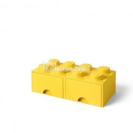 LEGO® - POJEMNIK NA KLOCKI ZABAWKI I INNE - KLOCEK 8 WYPUSTEK I 2 SZUFLADKI - ŻÓŁTY - 4006