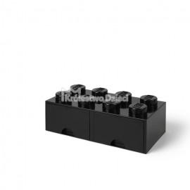 LEGO® - POJEMNIK NA KLOCKI ZABAWKI I INNE - KLOCEK 8 WYPUSTEK I 2 SZUFLADKI - CZARNY - 4006