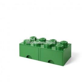 LEGO® - POJEMNIK NA KLOCKI ZABAWKI I INNE - KLOCEK 8 WYPUSTEK I 2 SZUFLADKI - ZIELONY- 4006