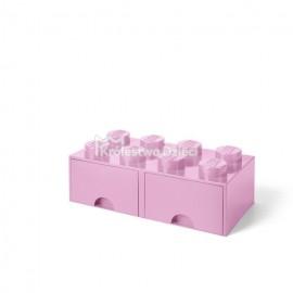 LEGO® - POJEMNIK NA KLOCKI ZABAWKI I INNE - KLOCEK 8 WYPUSTEK I 2 SZUFLADKI - JASNORÓŻOWY- 4006