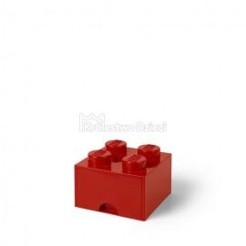 LEGO® - POJEMNIK NA KLOCKI ZABAWKI I INNE - KLOCEK 4 WYPUSTKI Z SZUFLADKĄ - CZERWONY - 4005