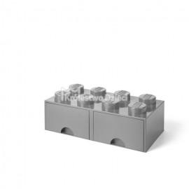 LEGO® - POJEMNIK NA KLOCKI ZABAWKI I INNE - KLOCEK 8 WYPUSTEK I 2 SZUFLADKI - SZARY - 4006