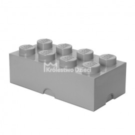 LEGO® - POJEMNIK NA KLOCKI ZABAWKI I INNE - KLOCEK 8 WYPUSTEK - SZARY - 4004