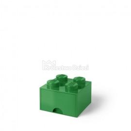 LEGO® - POJEMNIK NA KLOCKI ZABAWKI I INNE - KLOCEK 4 WYPUSTKI Z SZUFLADKĄ - ZIELONY - 4005