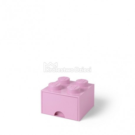 LEGO® - POJEMNIK NA KLOCKI ZABAWKI I INNE - KLOCEK 4 WYPUSTKI Z SZUFLADKĄ - JASNORÓŻOWY - 4005