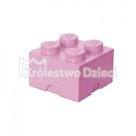 LEGO® - POJEMNIK NA KLOCKI ZABAWKI I INNE - KLOCEK 4 WYPUSTKI - JASNORÓŻOWY - 4003